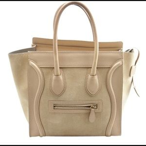 Celine Micro Luggage Leather & Suede Tote